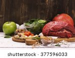 healthy product rich of iron.... | Shutterstock . vector #377596033