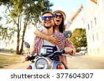 couple in love riding a... | Shutterstock . vector #377604307