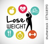 lose weight design  | Shutterstock .eps vector #377618593