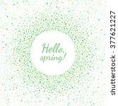 spring or easter round frame.... | Shutterstock .eps vector #377621227