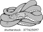 black and white image of coiled ... | Shutterstock .eps vector #377625097