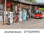 Small photo of ARIZONA, USA - APRIL 2, 2014: Old gas station at U.S. Route 66 in Arizona. The famous road led from Chicago to Los Angeles and was 2,451 miles long.