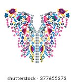 neck embroidery in vector. | Shutterstock .eps vector #377655373