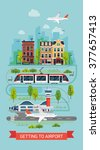 getting to airport on tramway... | Shutterstock .eps vector #377657413