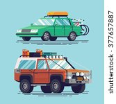 cool vector travel cars icons... | Shutterstock .eps vector #377657887