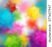 Vector abstract colorful background on spring festival of colors. Multicolored concept illustration with realistic clouds of Holi paint powder   Shutterstock vector #377657947