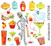 halloween party clip art with... | Shutterstock .eps vector #37767538