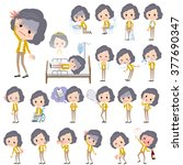 set of various poses of yellow... | Shutterstock .eps vector #377690347