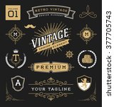 set of retro vintage graphic... | Shutterstock .eps vector #377705743