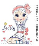 cute girl with bow | Shutterstock .eps vector #377745613