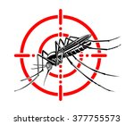 mosquito in red crosshairs.... | Shutterstock .eps vector #377755573