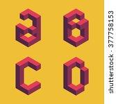 3d flat isometric alphabet.... | Shutterstock .eps vector #377758153