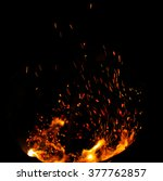 sparks of fire on a black... | Shutterstock . vector #377762857