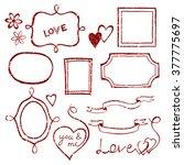 set of doodle frames and... | Shutterstock .eps vector #377775697