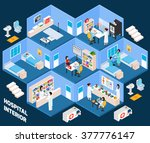 hospital isometric interior... | Shutterstock .eps vector #377776147