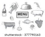 hand drawn vintage sketch set... | Shutterstock .eps vector #377790163
