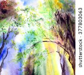watercolor landscape. spring.... | Shutterstock . vector #377803063
