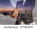 double exposure of business...   Shutterstock . vector #377823397