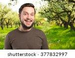 closeup portrait of a happy... | Shutterstock . vector #377832997