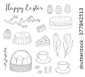 hand drawn easter eggs  cake ... | Shutterstock .eps vector #377842513