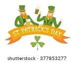 cute cartoon leprechauns with... | Shutterstock .eps vector #377853277