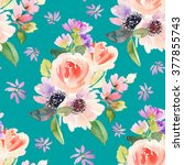 seamless pattern with flowers... | Shutterstock . vector #377855743