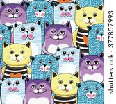 Cute Cats Colorful Seamless...