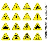 caution set yellow icon symbol... | Shutterstock .eps vector #377860807