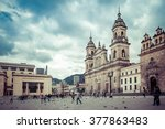 main square with church, Bolivar square in Bogota, Colombia, Latin America