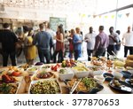 buffet dinner dining food... | Shutterstock . vector #377870653