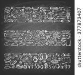 Retro vintage style food design. Hand drawn elements for cooking, vegetables, restaurant and vegetarian food on the blackboard. Vector illustration.   Shutterstock vector #377873407
