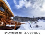 alpine wood lodge with a lot of ... | Shutterstock . vector #377894077