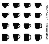 set of cups and mugs  vector... | Shutterstock .eps vector #377922907
