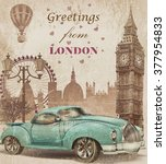 vintage touristic greeting card.... | Shutterstock . vector #377954833
