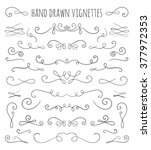 set of hand drawn vignettes in... | Shutterstock .eps vector #377972353