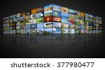a futuristic video wall with... | Shutterstock . vector #377980477