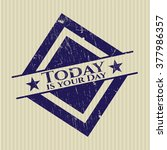 today is your day rubber grunge ... | Shutterstock .eps vector #377986357