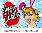 closeup of winking bunny girl... | Shutterstock .eps vector #378025363