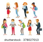 street style people with gadgets | Shutterstock vector #378027013