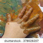 little baby child hand print on ...   Shutterstock . vector #378028207