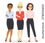 three elegant business women in ... | Shutterstock .eps vector #378034603