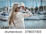 woman portrait on the yacht... | Shutterstock . vector #378037303