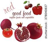 good food  red organic fruit... | Shutterstock .eps vector #378040837