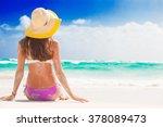 woman in bikini and straw hat...   Shutterstock . vector #378089473