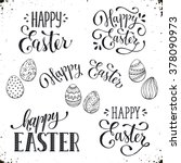 hand written easter phrases ... | Shutterstock .eps vector #378090973