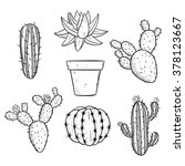 Set Of Black And White Cactus...