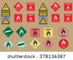 set of flammable liquid gas... | Shutterstock .eps vector #378136387