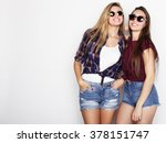 two young girl friends standing ... | Shutterstock . vector #378151747