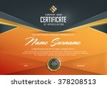 certificate template with... | Shutterstock .eps vector #378208513