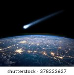 comet and earth. elements of... | Shutterstock . vector #378223627